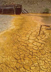 Dried up ochre outside No 9 Adit, Cwmrheidol, 1992